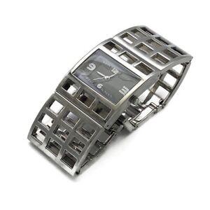 Stylish Ladies Designer Quality Silver Tone Rectangular Skeleton Bracelet Watch
