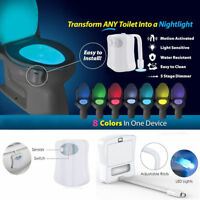 Motion Activated LED 8 Color Auto Toilet Bowl Bathroom Kids Safe Night Light New