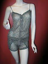 Wendy Glez 2 piece pajama set Size Small cami boyshorts gray teal Small NEW