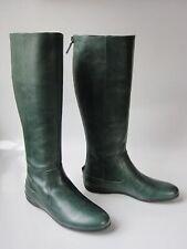NIB GUCCI logo leather TALL FLAT Forest Green BOOTS 36 US 6
