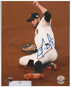 Brandon Belt SF Giants Autographed 8x10 photo - Signed in Store 5/2/15 - Sliding