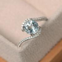 14K Weiss Gold 1.65 Karat Runde Edelstein Diamant Echt Aquamarin Ringe