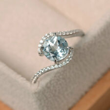 14K Hallmarked White Gold 1.65Ct Natural Diamond Real Aquamarine Ring Size O