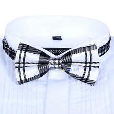 Men Satin Bow Tie Dickie Pre-Tied Wedding Tuxedo Necktie Black White Tartan #LL