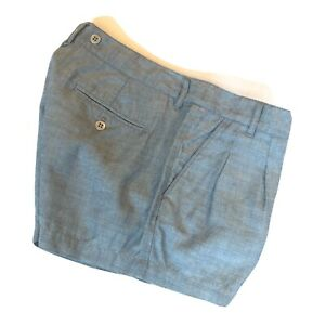 """Madewell Womens Shorts Size 29 Blue Ramie Twill Pleated Front 2"""" Lightweight New"""