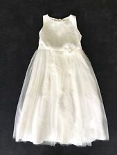 GIRLS WHITE 7 8 TULLE LACE FLOWER GIRL DRESS TIE BACK FORMAL PARTY WEDDING EUC