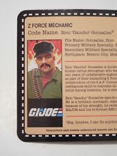 GI JOE 2010 CON 4 in - Z FORCE RICO GAUCHO GONZALES FILE CARD ONLY -NEW -BOYS 4+