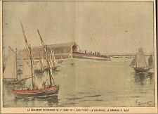 50 CHERBOURG PELLETAN LANCEMENT CUIRASSE JULES FERRY IMAGE 1903 DESSIN LECOULTRE