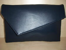 OVER SIZED NAVY BLUE faux leather asymmetrical clutch bag,  lined BN .UK made