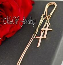 925 Silver Rose Gold Plated Earrings - Chain Ear Thread with CROSS 15mm x 9mm