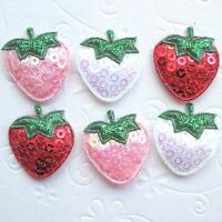 """US SELLER 45 x 1"""" Padded Shiny Sequined Felt Strawberry Appliques for Bows ST64B"""