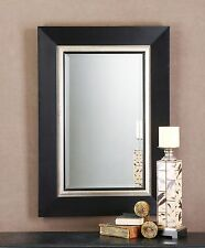 "Large Contemporary 40"" BLACK SILVER Wood Wall Mirror"