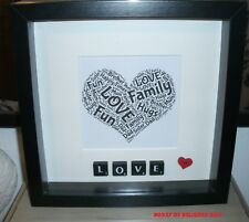Bespoke Black Scrabble LOVE Personalised handmade word art picture