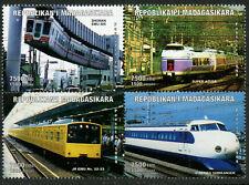 Railways Japanese Trains MNH Se-tenant Block 1999 Madagascar