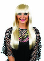 Adult Long Blonde Fringed Wig for 70s 80s Retro Disco Fancy Dress Abba Lady Gaga