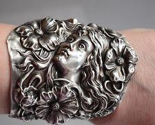 Art Nouveau Goddess Sterling Silver 925 Cuff Bracelet Floral Redlich Lady Medusa