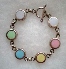 Mexico Mexican Sterling Silver 925 Pink Blue Green Enamel Tennis Bracelet 28.7 g