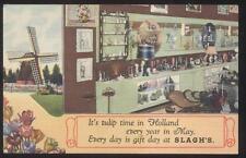 POSTCARD HOLLAND MI/MICHIGAN BERT SLAGH'S  GIFT SHOP INTERIOR 1930'S