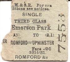 L.M.S.R. Edmondson Ticket - Emerson Park to Romford or Upminster