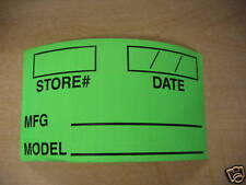 MANUFACTURER AND MODEL # Sticky Label.  Store #, Date, MFG, Model Info