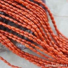 "3x6mm Olivary Orange Coral DIY Gemstone Spacer Beads Jewelry Making Strand 15"" A"