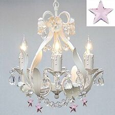White Wrought Iron Crystal Flower Chandelier Lighting w/Pink Crystal Stars!