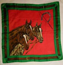 Vintage Horse Trio Green Red Scarf 67 x 67 cm .