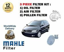 FOR CHRYSLER GRAND + VOYAGER 3.3 2000-2006 NEW OIL AIR POLLEN FILTER SERVICE KIT