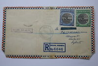 BAHAMAS AIR MAIL TO ENGLAND REGISTERED 1942 FRONT COVER ONLY A95 AIR229