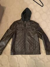 Kenneth Cole Reaction Men's Brown Hooded Faux Leather Jacket - Size: Medium