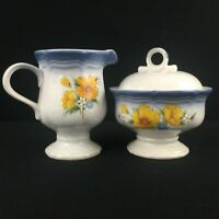 VTG Sugar Bowl and Creamer by Mikasa Country Club Amy Yellow Floral CA503 Japan