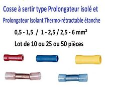 Cosse électrique à sertir type manchon prolongateur isolée ou thermo-rétractable