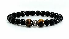 Men's Black Onyx & Tiger Eye 925 Sterling Silver Tribal Beaded Stretch Bracelet