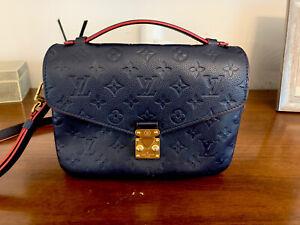Louis Vuitton Pochette Metis Navy Red Handle Crossbody Bag