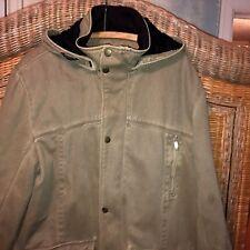WOOLRICH Lg Thigh-Length heavy/soft-Canvas Coat parka Fleece Lined zip-off Hood