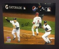 2009 WS Yankees Last Out Mariano Rivera Teixeira Signed 8x10 Photo Steiner Coa