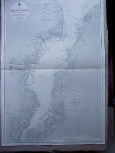 "1969 Germany KIELER HAFEN-FJORD Baltic - Admiralty Sea MAP CHART 41"" x 28"" C81"