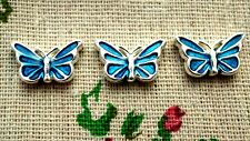 Butterfly charms 2 blue silver pendant charm jewellery supplies C615