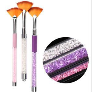 1pc Crystal Nail Art Fan Shaped Brush Acrylic UV Gel Gradient Painting Pen
