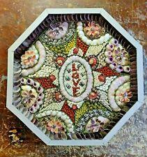 Hand Made Shell Art Sailors Valentine Seashell Love