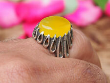 antik orient silber Afghanistan Gelb Achat statement ring YELLOW AQEEQ Nr:17/462