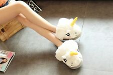 03ac26f2836e55 Cute Unicorn Plush Cotton Indoor Unisex Women Kids Slippers Cosplay Xmas  Gifts