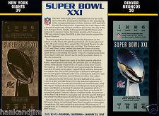 Super Bowl XXI 21 Gold Replica Ticket Sealed in 9x12 Card Giants vs Broncos
