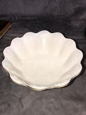 "Vintage Lenox China Greenfield Centerpiece Bowl 24KT Gold 9.75"" Across Footed"