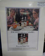 Original Vintage 1960's Advertisement mounted ready to frame Bacardi Rum
