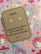 Unicorno Argento Sterling Orecchino personalizzato regalo. regalo per LEI adolescente saccos