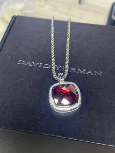 DAVID YURMAN Oversized Sterling Silver  Red Garnet and Diamond Necklace