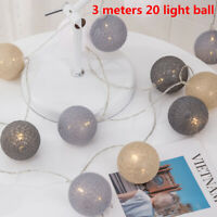 20 LED Cotton Ball String Fairy Lights USB Bulb Lamp Bedroom Party Home Decor