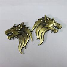 1 Pair of Wolf Bronze Head Metal Badge Sticker Emblem Decal Premium 3D Logo Auto