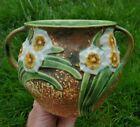 EXCEPTONAL Vintage Roseville Pottery Jonquil Flower 2 Handle Bell Pot VASE 525-5